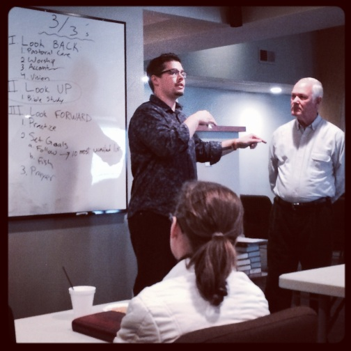 Taylor Bradbury (L) and Tom Conner are leading T4T training during a Sunday School class at The Chapel Indy.  They are seeing participants make disciples!  Ed Watson (Onward Church) equipped them during Fall training.