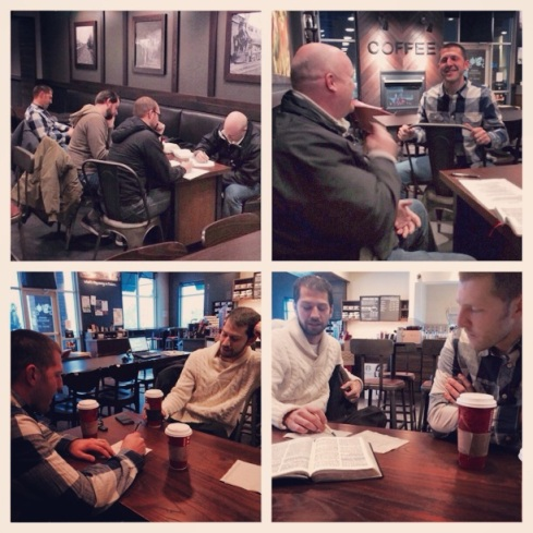 Troy trains a group of men on Mondays at 5am.  Here they were equipped to share their story (testimony) and God's story (bridge Gospel presentation).  They learned, practiced & then shared with another friends who stopped by!  Multiplication!!